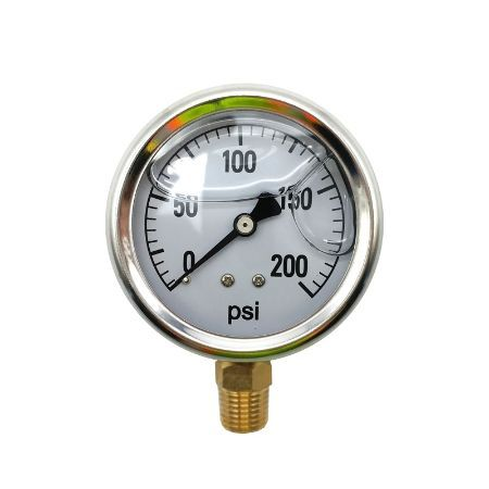 BE 85.300.200 Pressure Gauge Glycerin, Stainless Steel