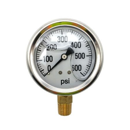BE 85.300.600 Pressure Gauge Glycerin, Stainless Steel