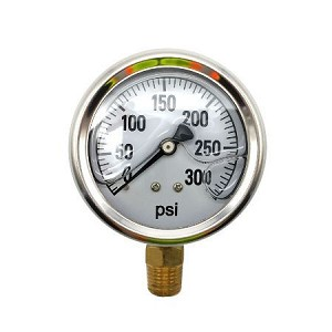 BE 85.300.300 Pressure Gauge Glycerin, Stainless Steel